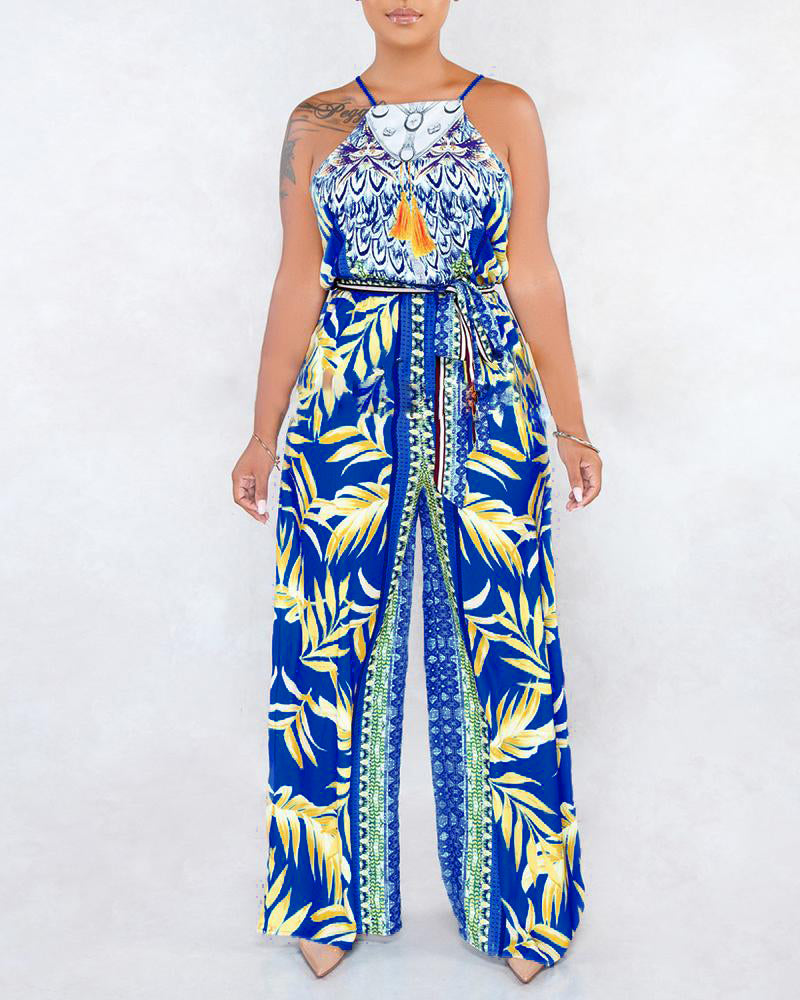 Printed Halter Wide Leg Jumpsuit