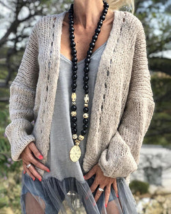 Solid Open Front Hollow Out Knitting Cardigan