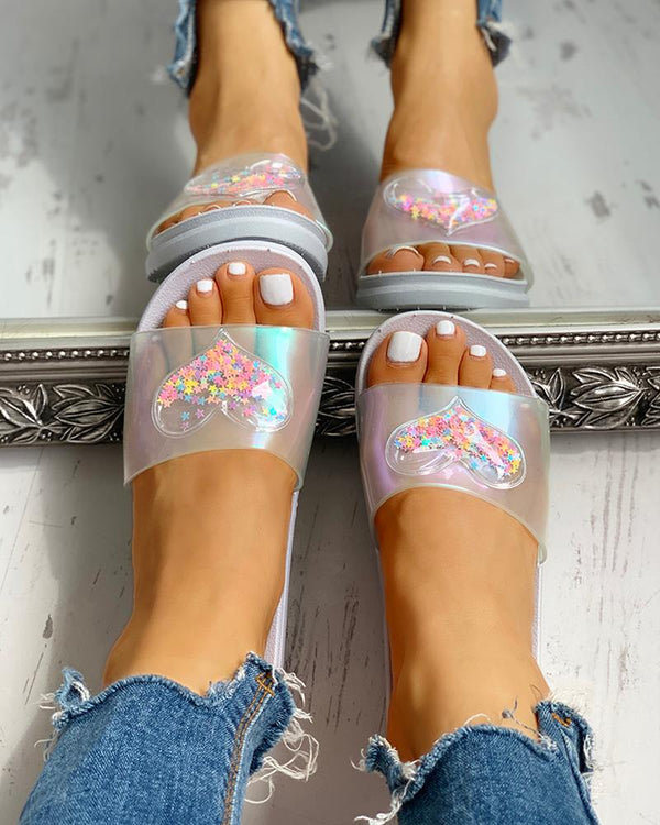 Heart Detail Casual Flat Sandals