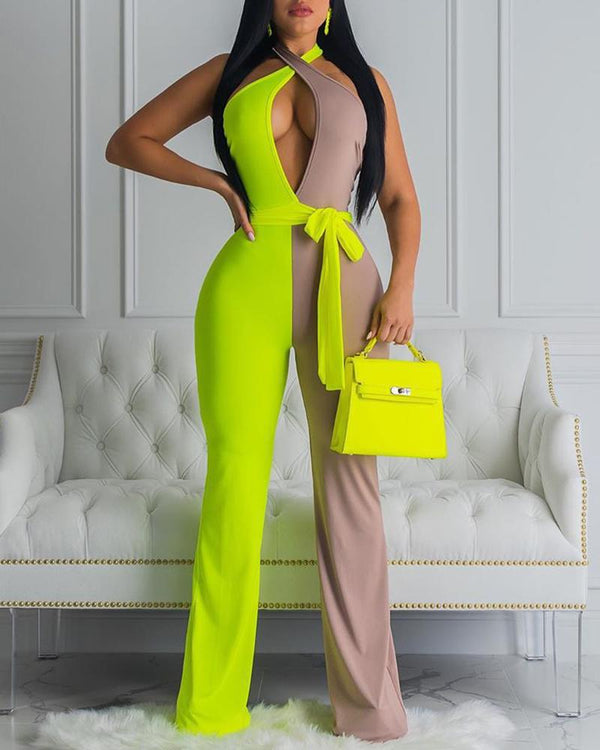 Halter Colorblock Insert Open Back Jumpsuit