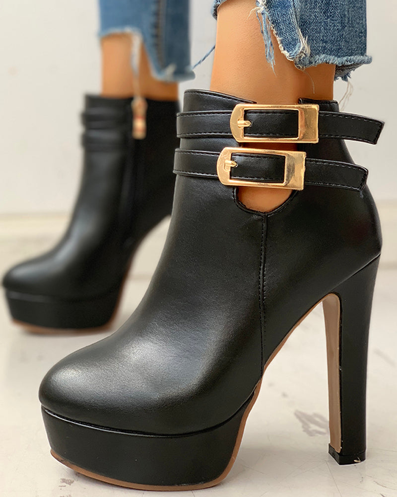 Faux Leather Ankle-Buckled Platform Boots