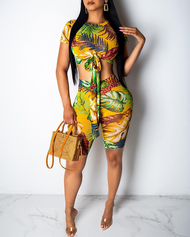 Tropical Print Knotted Front Top & Short Set