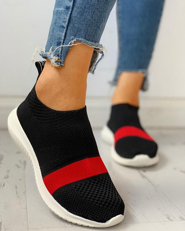 Colorblock Breathable Casual Flat Sneakers