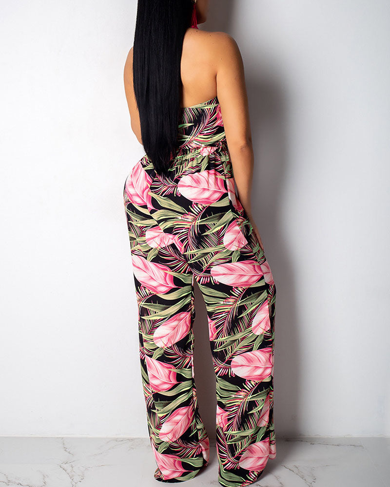 Leaf Print Halter Top & Wide Leg Pants