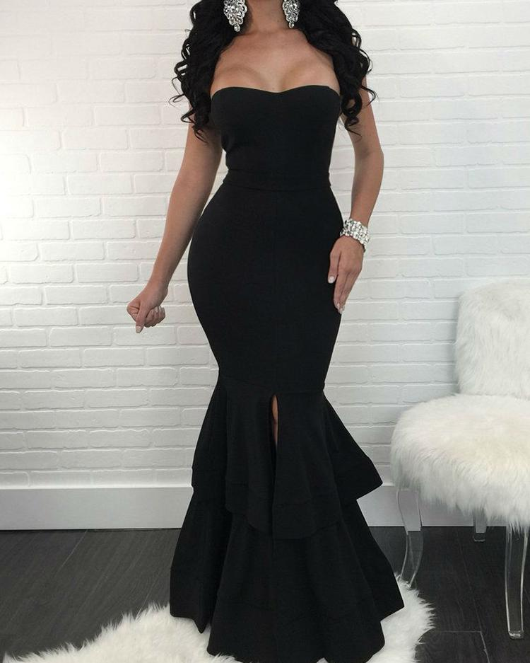 Strapless Slit Mermaid Maxi Bodycon Dress