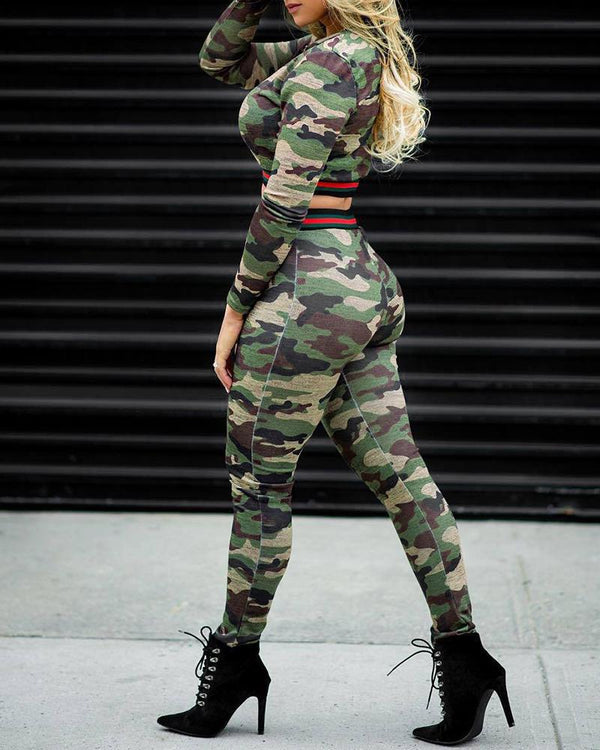 Camouflage Striped Crop Top & Pant Sets