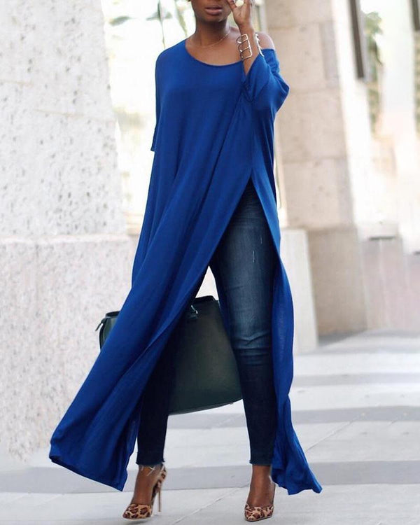 Stylish Solid High Slit Casual T-Shirt