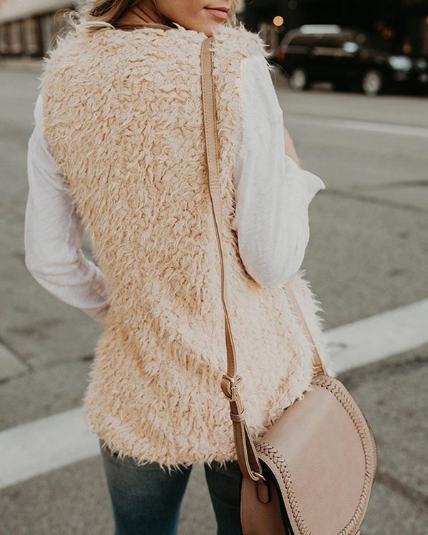 Solid Open Front Sleeveless Fluffy Vest Coat