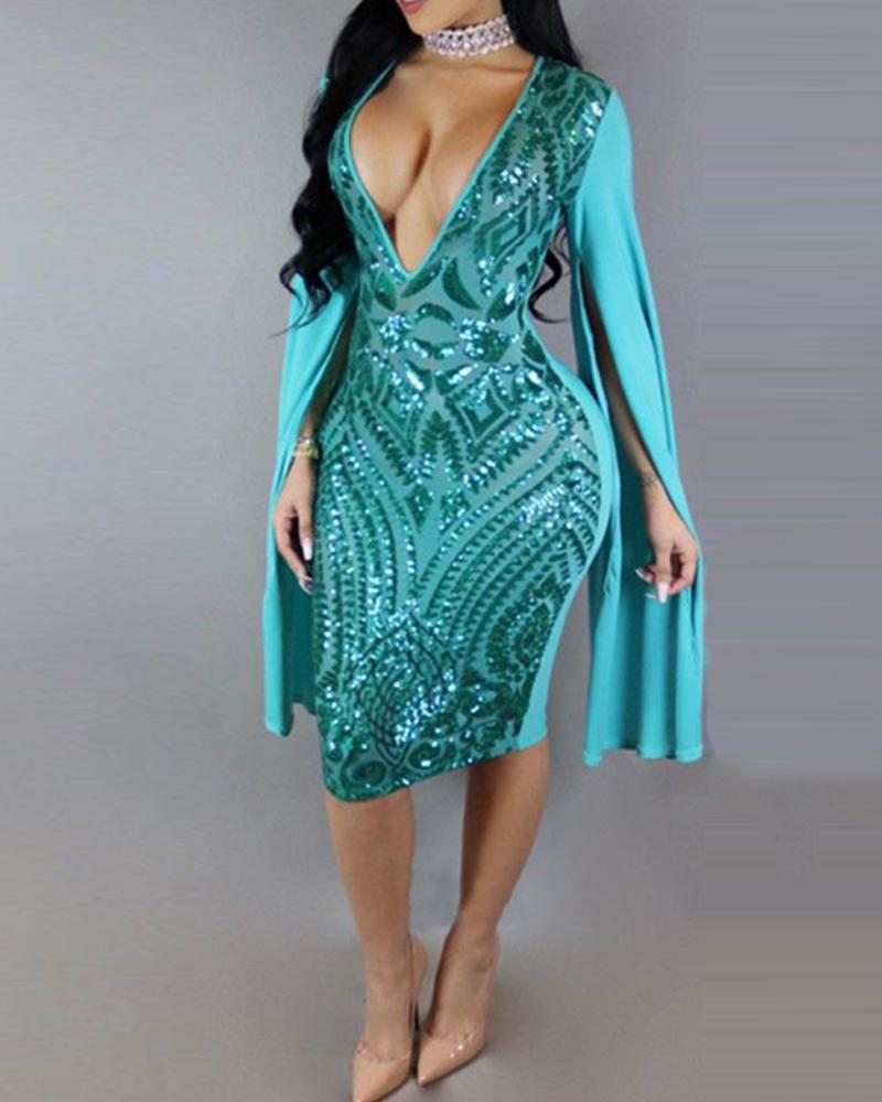 Deep V Bodycon Sequined Cape Dress