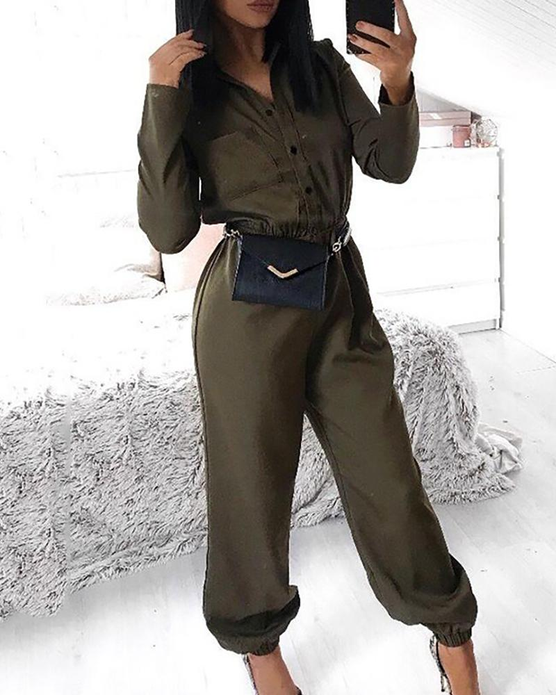 Solid Turn-down Collar Buttoned Cuffed Cargo Jumpsuit
