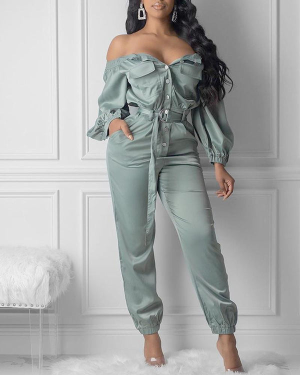 Off Shoulder Pocket Buttoned Cargo Jumpsuit