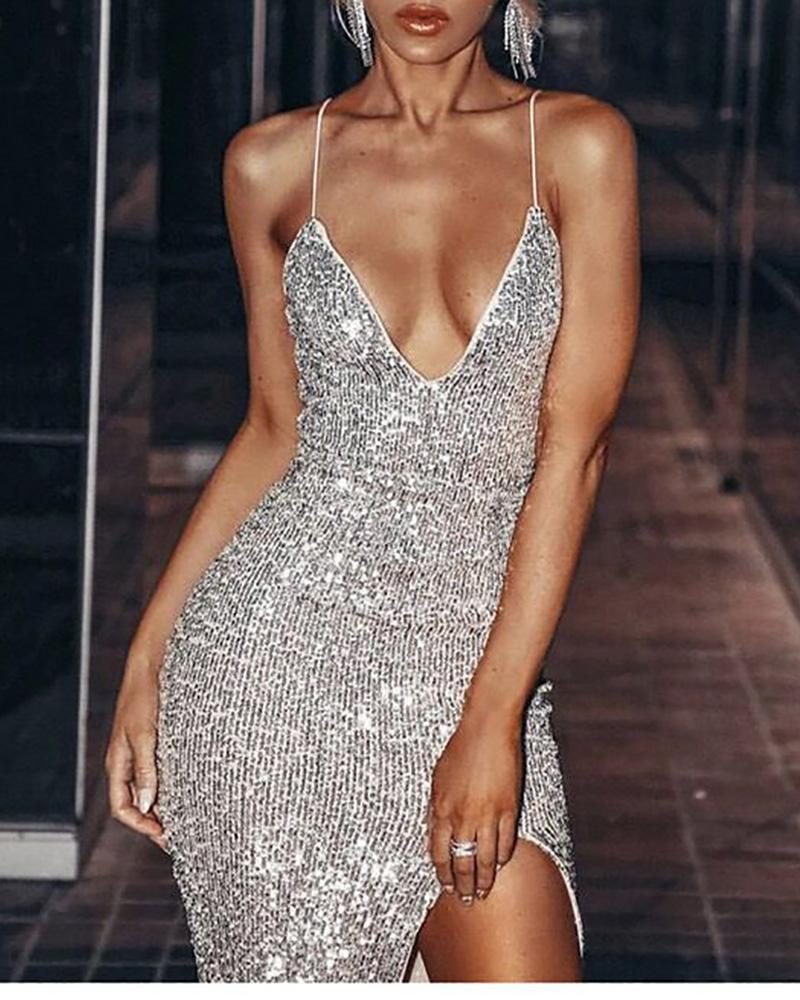 Glitter Spaghetti Strap High Slit Sequins Dress