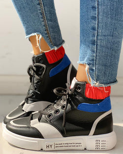 Colorblock Lace-Up Casual Sneakers