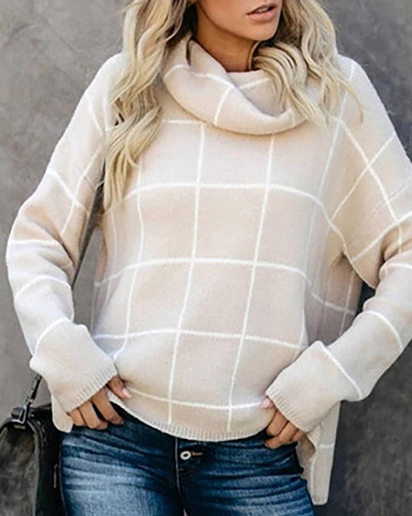 High Neck Plaid Long Sleeve Knitting Sweater