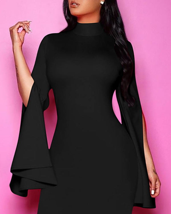 Solid Slit Sleeve Midi Dress
