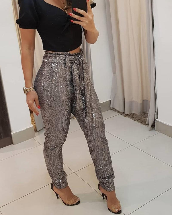 Sequined Wrap Waist Long Trousers