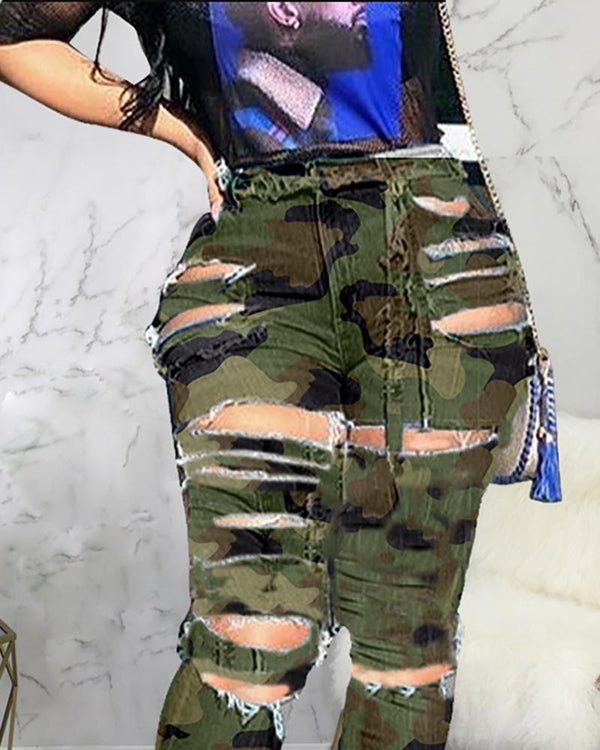 High Waist Camouflage Ladder Cut Out Pants