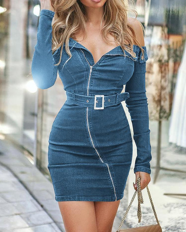 Off Shoulder Long sleeve Zipper Up Denim Dress