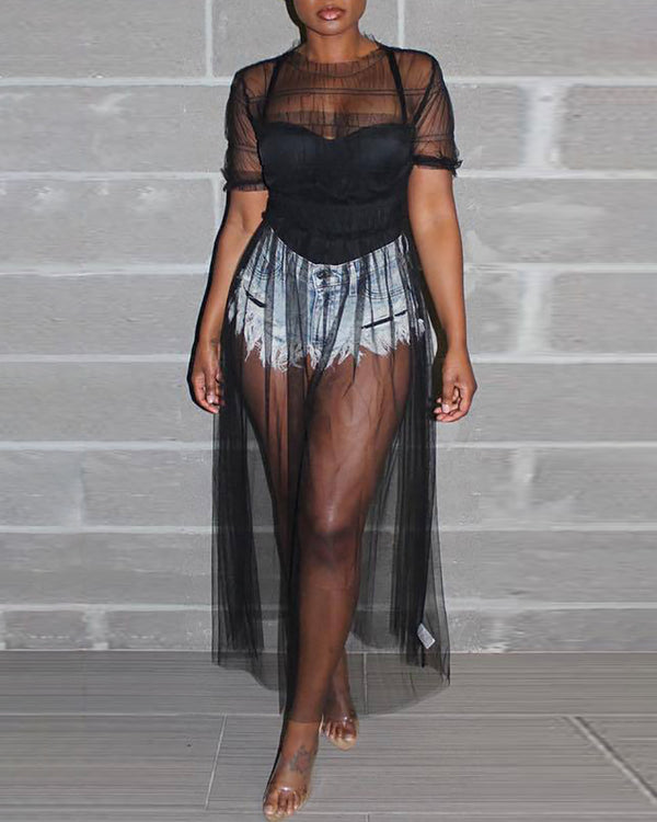 Short Sleeve Mesh See Through Dress