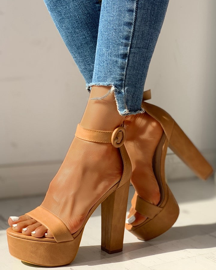 Solid Ankle-Buckled Platform Chunky Heeled Sandals