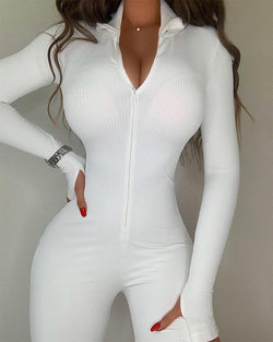 Rib Knit Zip Front Jumpsuit