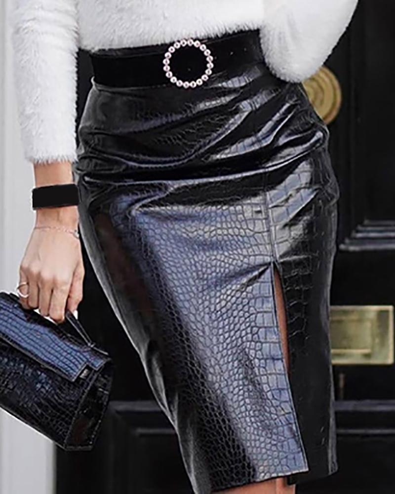 Faux Leather Slit Midi Skirt