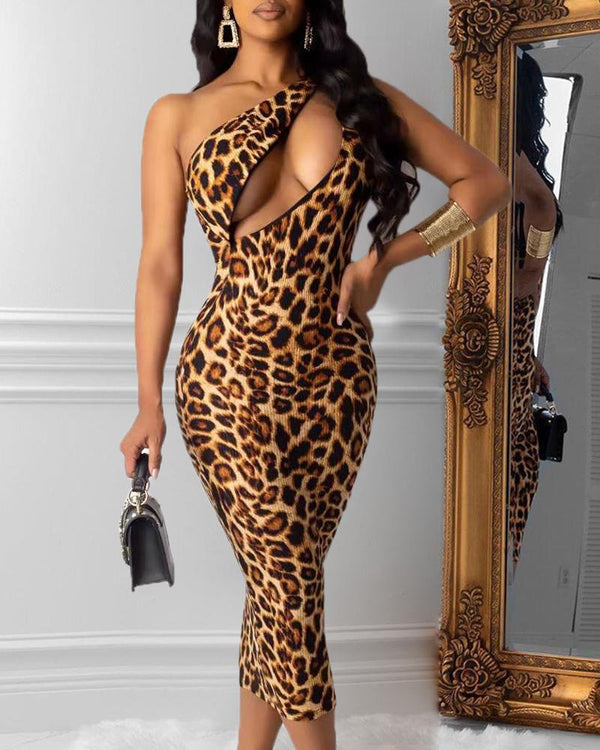 Leopard One Shoulder Cut Out Chest Backless Dress