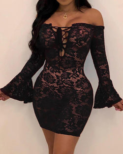 Off Shoulder Lace Bell Sleeve Bodycon Dress
