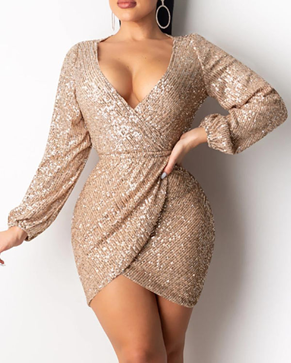 Open Back Sequin Bodycon Dress