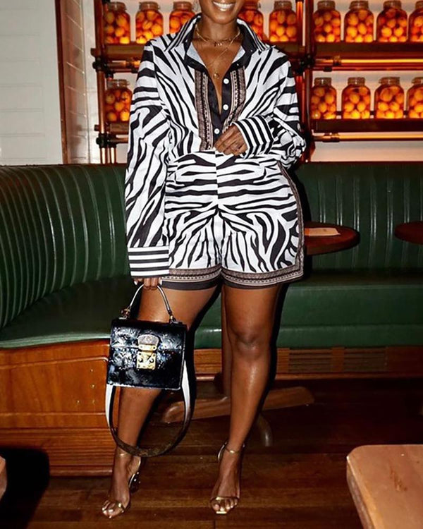 Zebra Print Long Sleeve Striped Cuff Shirt Romper