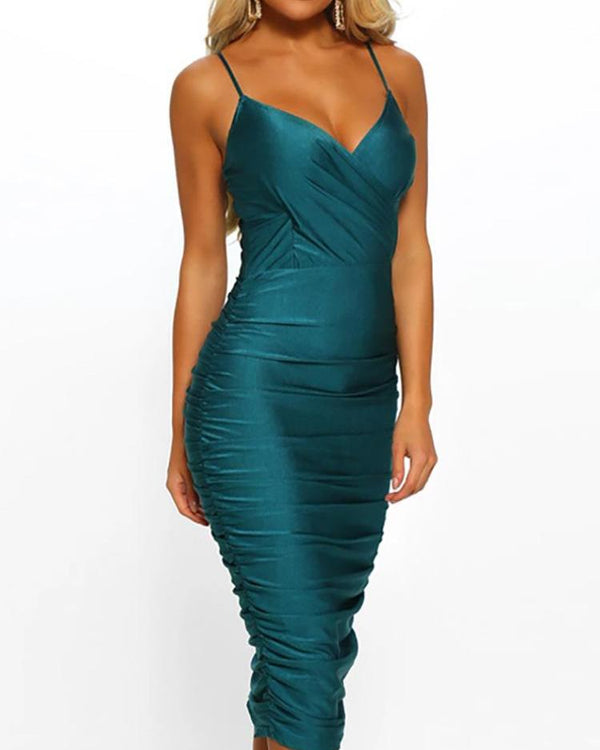 Spaghetti Strap Scrunched Bodycon Dress