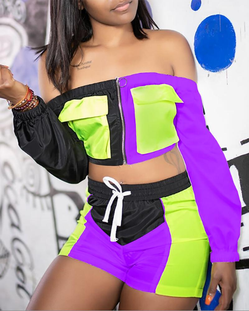 Colorblock Insert Zipper Top & Drawstring Short Sets