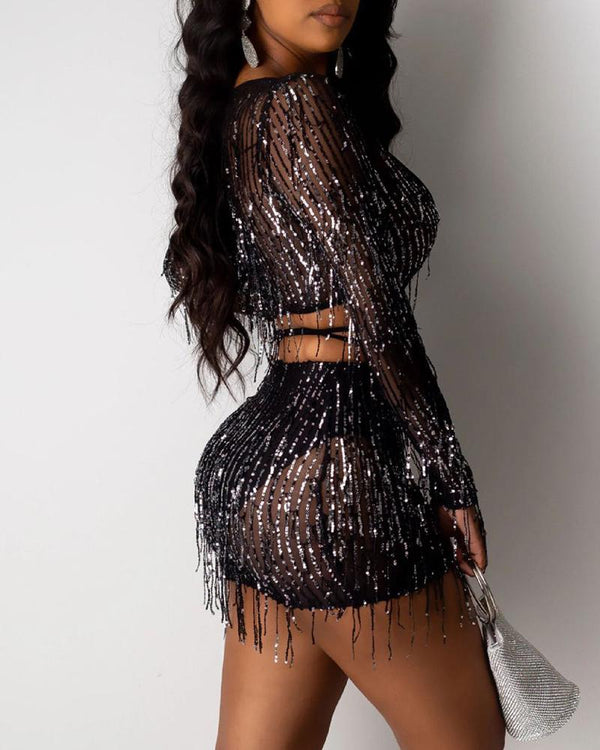 Glitter Tassel Design Sheer Mesh Crop Top & Skirt Sets
