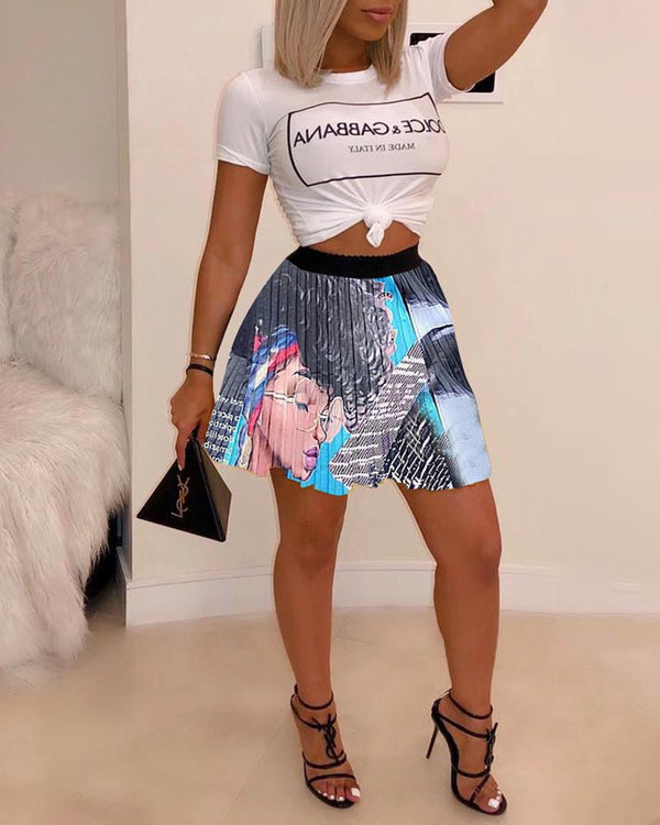 High Waist Cartoon Printed Pleated Mini Skirt