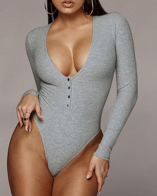 Solid Ribbed Long Sleeve Romper