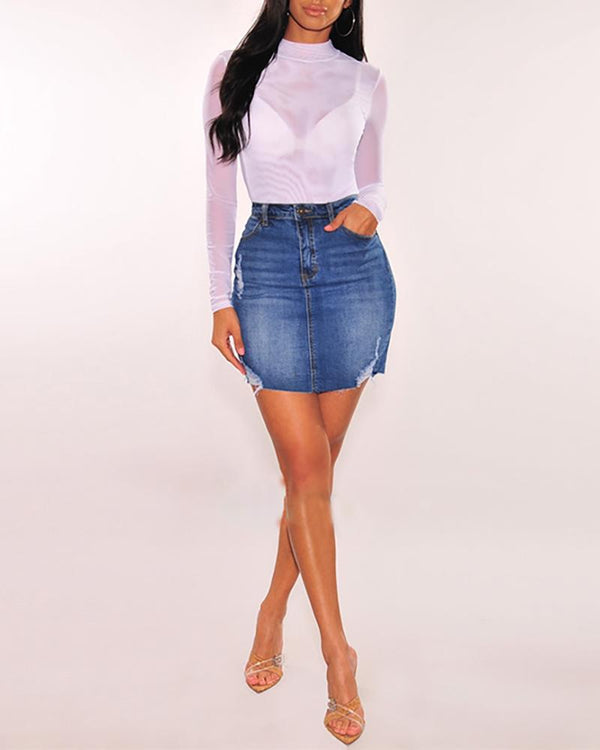 High Waist Mini Denim Skirt