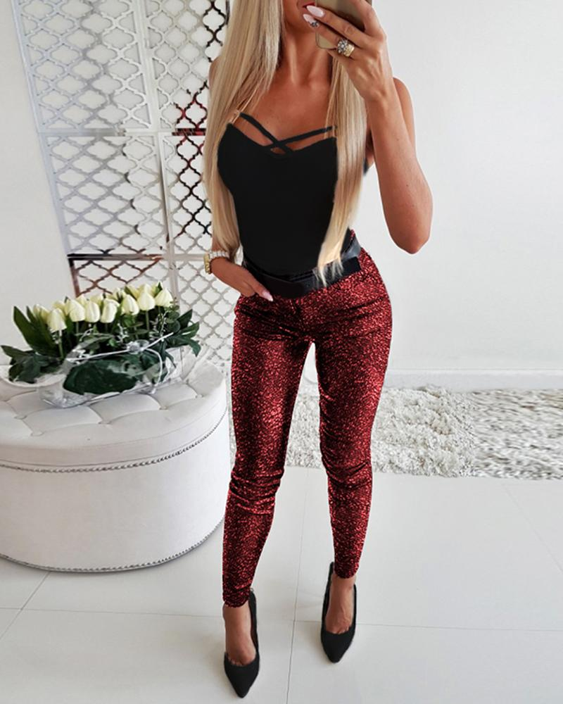 Glitter Bowknot Design Zipper Sequins Pant