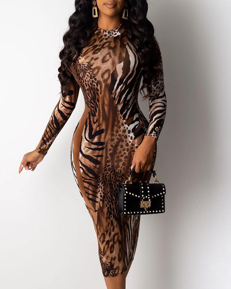 Mock Neck Long Sleeve Zebra Leopard Bodycon Dress