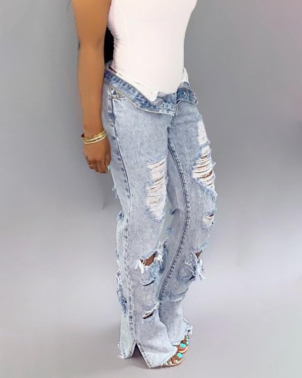 High Waist Holey Ripped Jeans