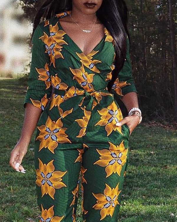 Shawl Neck Flower Print Tied Waist Jumpsuit