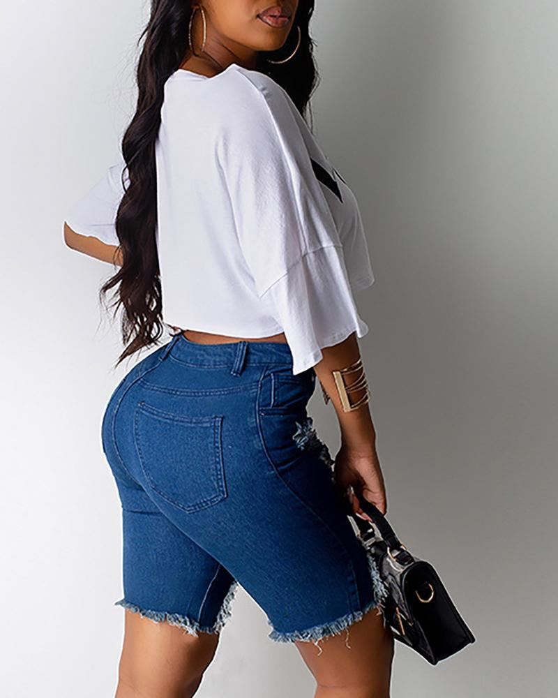 High Waist Ripped Distress Denim Shorts