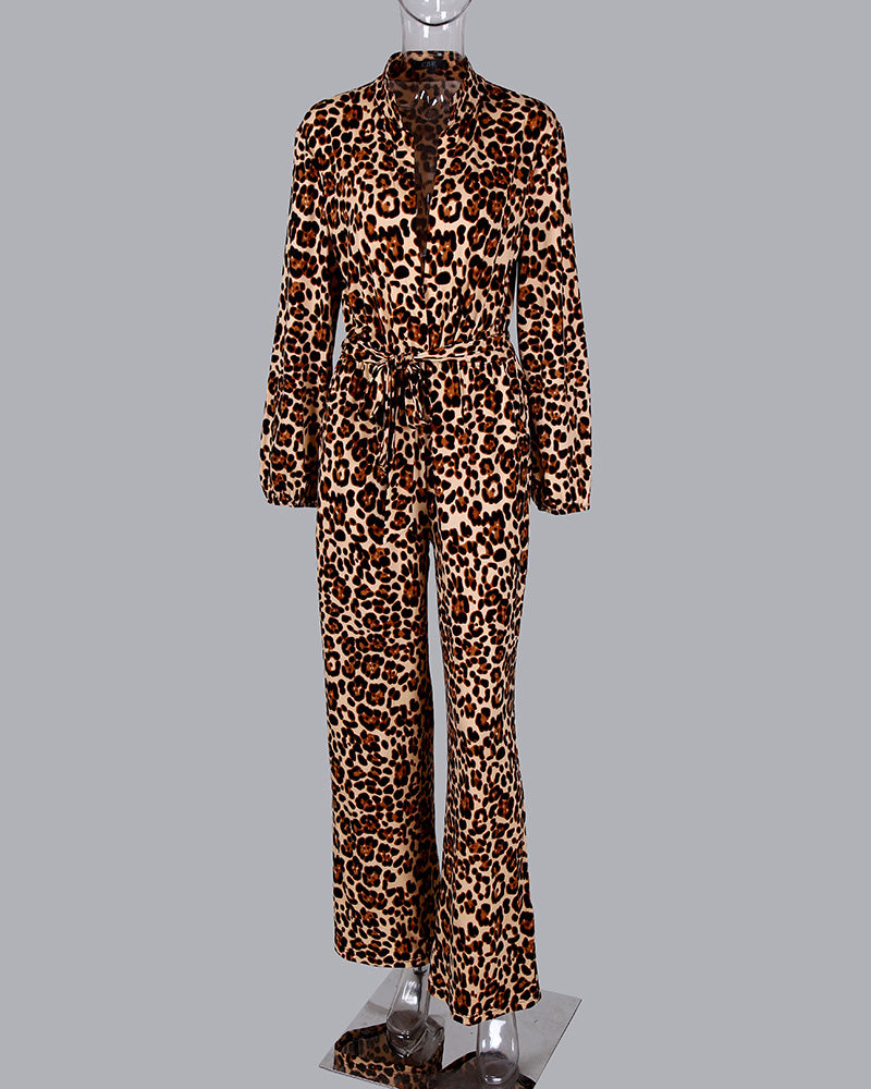 Leopard Tied Waist Long Sleeve Jumpsuit