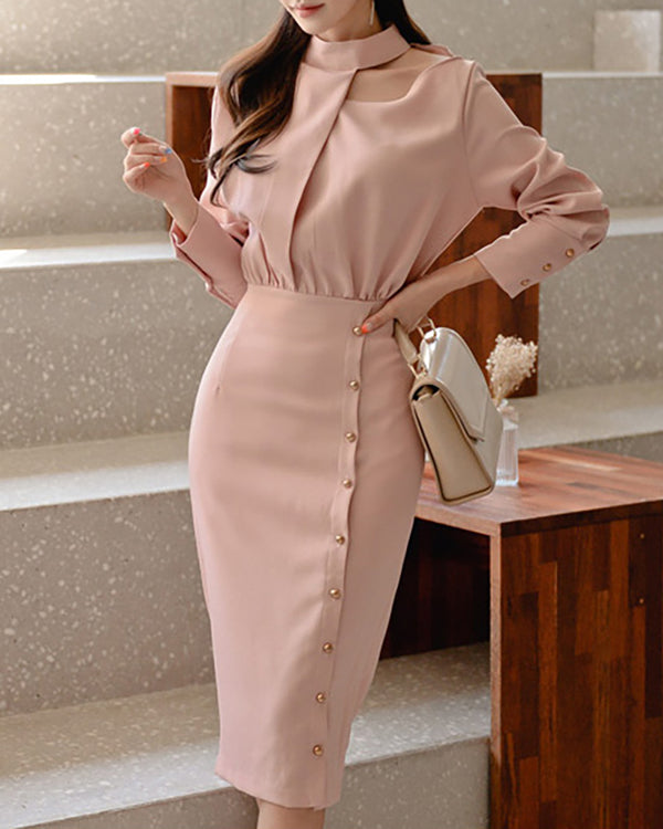 Solid Long Sleeve Buttoned Dress