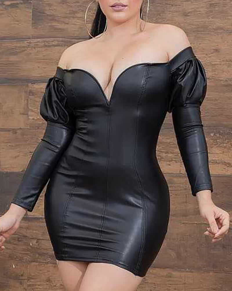 Solid Off Shoulder Long Sleeve PU Bodycon Dress