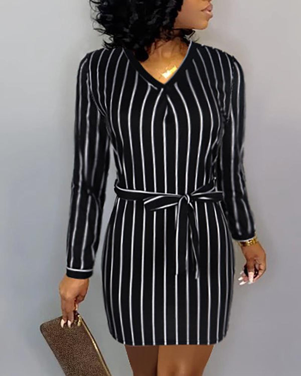 V Neck Pinstripes Long Sleeve Dress