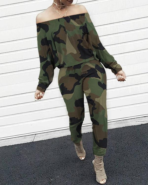 Off Shoulder Camouflage Long Sleeve Jumpsuit