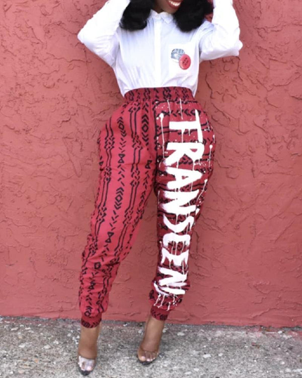 Letter Print Straight Leg Casual Pants