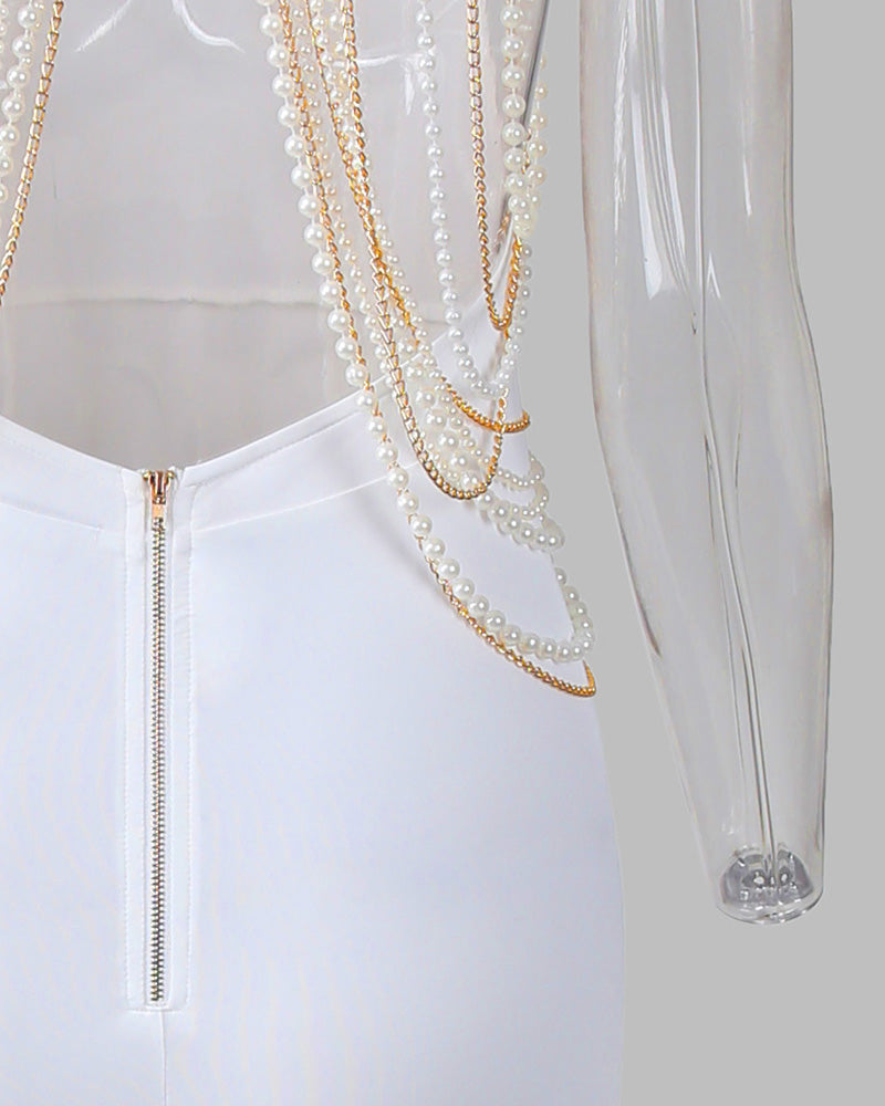 Beads Chain Embellished Party Dress