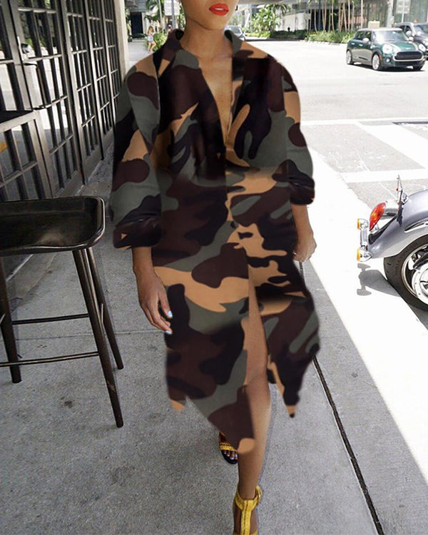 Turn-down Collar Camouflage Shirt Dress