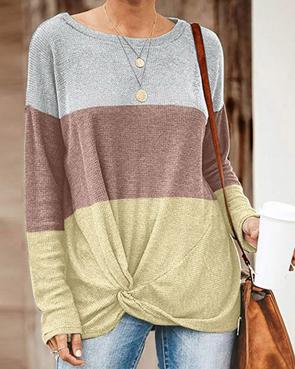 Round Neck Colorblock Long Sleeve Twisted Blouse